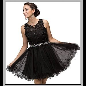 *HP Semi Formal Short Lace Beaded TULLE NWT PROM